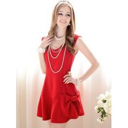 Simply Elegant V Collar Bowknot Dress