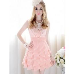 Elegant Slim V Neck Falbala Ruffle Sleeveless Dress