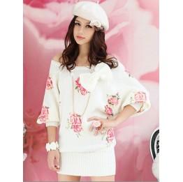Beautiful Rose Printed Batwing Sleeve Knit Dress