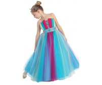 Strapless Rainbow Pageant Dress