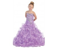 Strapless Beaded Organza Pageant Dress