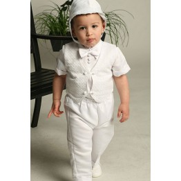 4 Piece Satin Christening  or Baptism Set with Checkered Embroidery Vest