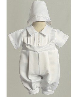 Pin Tucked Christening Romper with Hat