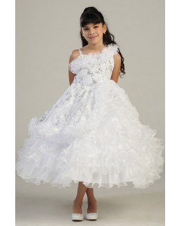 One Off-Shoulder Organza Princess Ball Gown with Sequin Embroidery