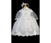 Silver Embroidered Virgin Mary on the Bodice Baptism Dress with Scallop Hemline