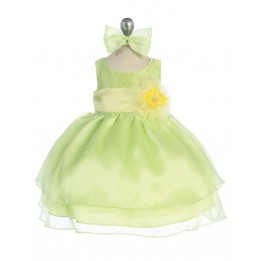 Organza Layered Sleeveless Infant Dress with Flower and Sash