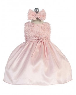Rosebud Accented Taffeta Infant Dress