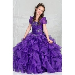 Multi Ruffled Organza Ball Gown with Bolero Jacket