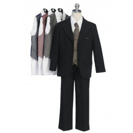 5 Piece Single Breasted 3 Button Specialty Suit with Checkered Vest & Tie