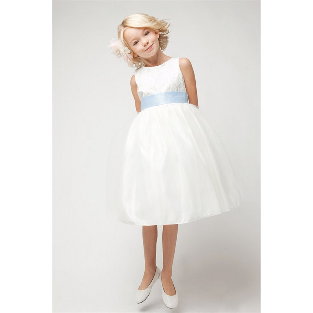 01a3bcc93 Ivory Jacquard Bodice w/ Tulle Skirt & Removable Sash