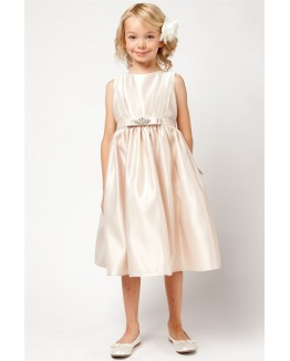 Satin Dress w/ Rhinestone Pin