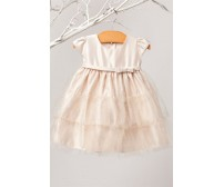 Satin Glitter Tiered Mesh Infant Dress