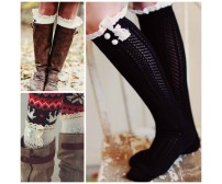 Chevron Open Knit Boot Socks with Ruffle Detail and Buttons