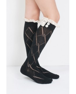 Cream Laced Child Boot Sock with Diamond Pattern