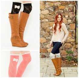 Diamond Etch Pattern Boot Sock with Bow