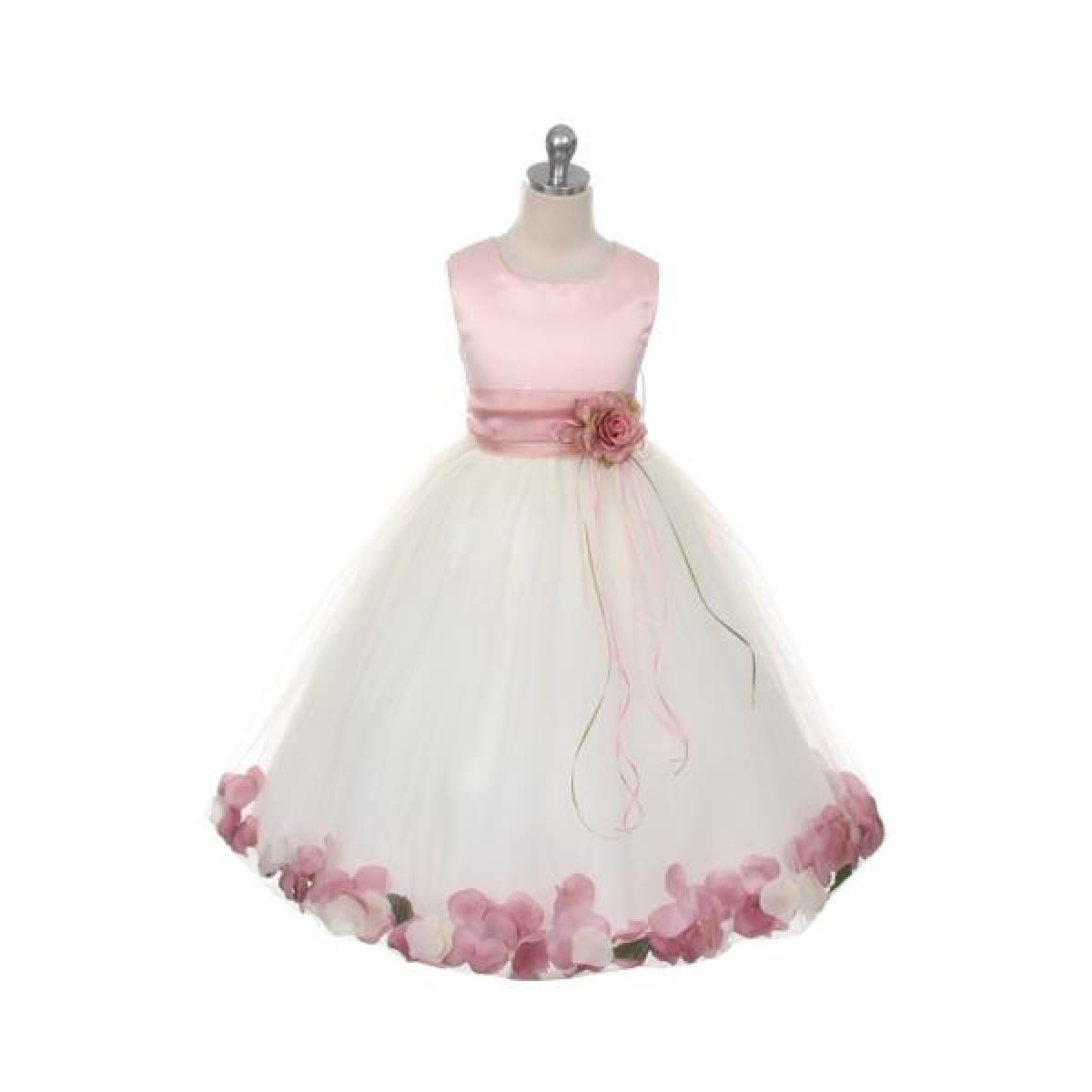 Sleeveless Satin Flower Petal Dress