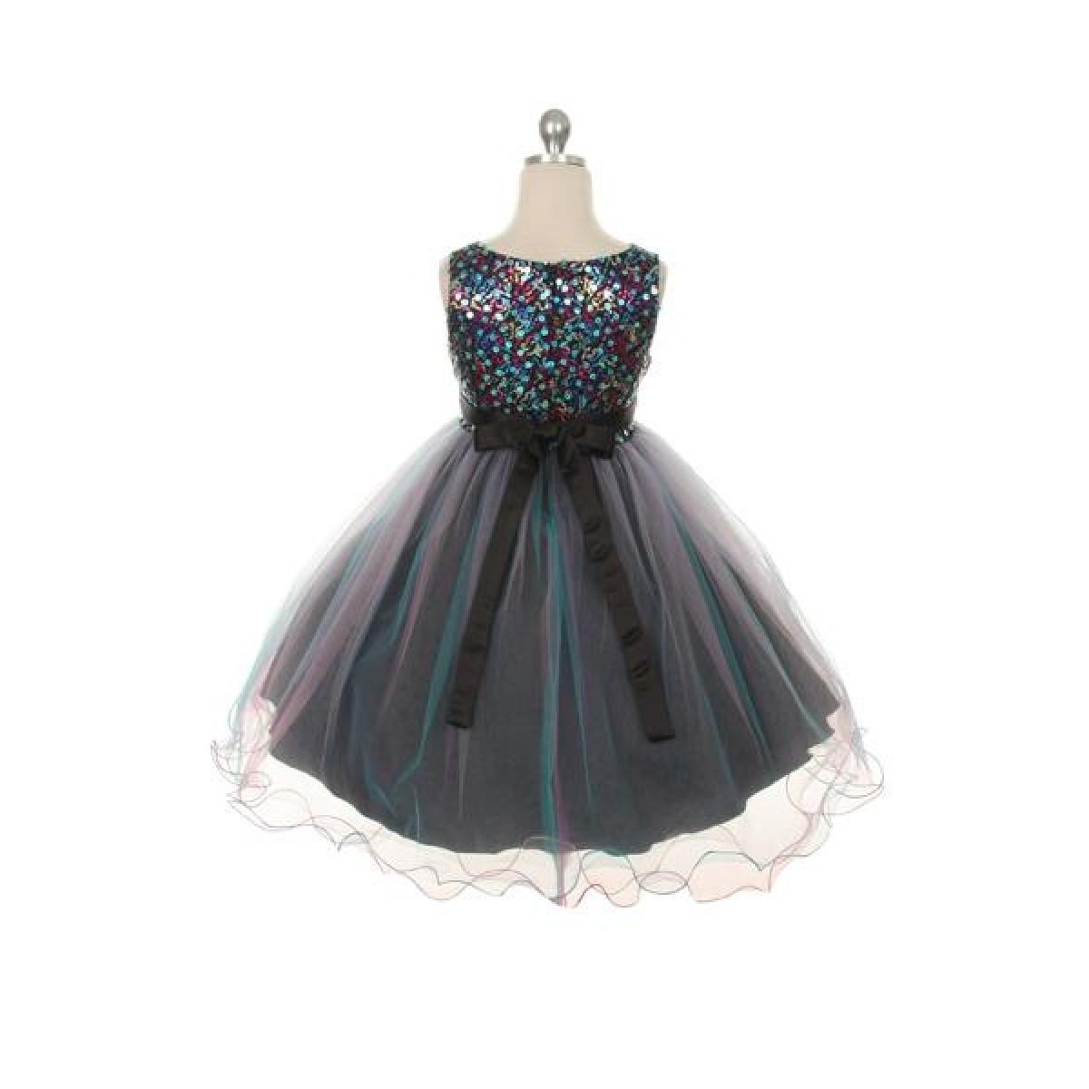 0709f8b26 Multi-Sequin Trio Color Tulle Dress