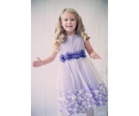 Mesh Dress with 3D Taffeta Flowers