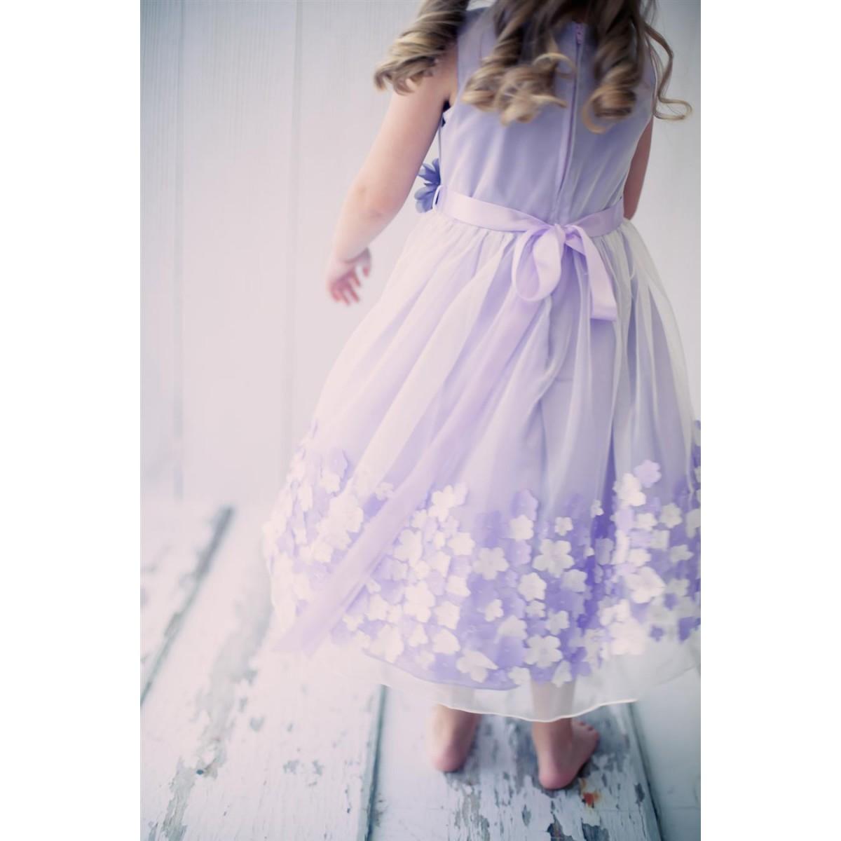 1bd847cc4d Mesh Dress with 3D Taffeta Flowers