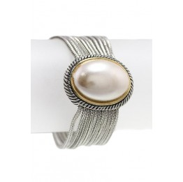 Rhodium Cable Chain with Oval Cream Pearl Bracelet