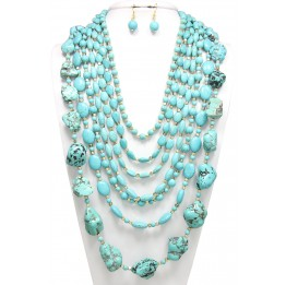 Multi Layer Turquoise Stone / Beaded Necklace with Earring Set