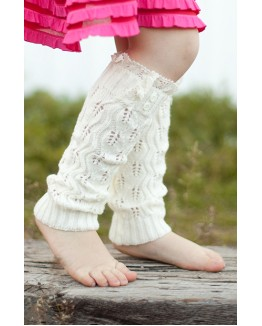 Kids Open Knit Leaf Pattern Leg Warmers