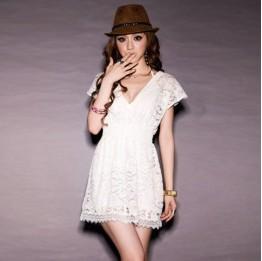 Lace Short Sleeve Mini Dress