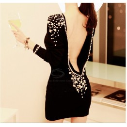 Boat Neck Pearl Embellished Backless Long Sleeve Dress