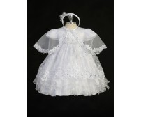 Double Layer Organza Christening Baptism Dress