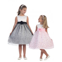 Super Cute White Satin and Daisy Sparkle Dress